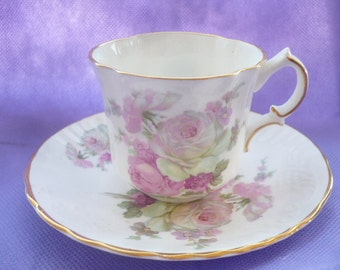 Vintage Oakley China Ltd. Made in England Fine Bone China Floral Splashed Smaller Size Tea Cup and Saucer