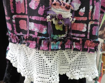 Gypsy Batik Vest Top Batik Bohemian Vintage Antique