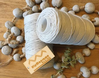 Gorgeous silver-grey twisted cotton cord