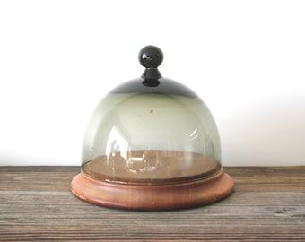 SALE Vintage Art Smoke Glass and Wood Base Cheese Dome