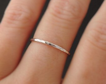 Sterling Silver Ring hammered skinny 16 gauge stackable ring thin thumb ring