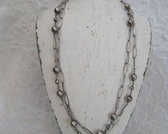 "Sterling Silver 925 Extra Long 24"" Necklace Link Ball Made in Italy Milor"