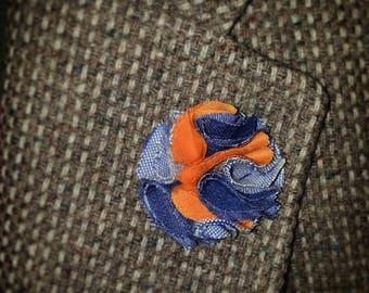 Blue Denim and Orange Rose Lapel Pin  Mens Lapel Flower Pin  Lapel Pin  Flower Lapel Pin