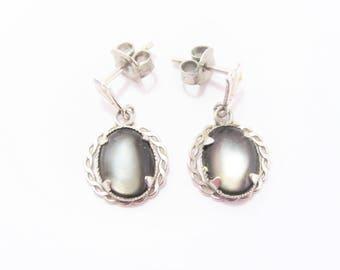Dainty Vintage Dark Moon Glow Dangle Earrings
