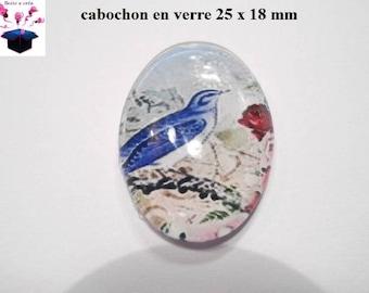 1 cabochon glass 25mm x 18mm bird theme