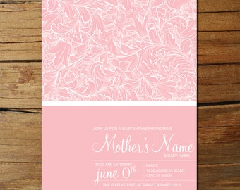 Floral Pattern Baby Shower Invites