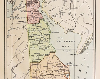 Antique State Map of Delaware, USA. Encyclopedia Britannica, 1870s