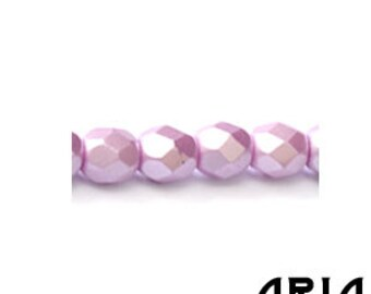 PASTEL LIGHT ROSE: 4mm Faceted Round Firepolish Czech Glass Beads (50 beads per strand)