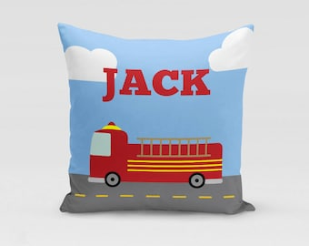Firetruck Pillow Cover - Customized Twill Pillowcase - Personalized with Name - COVER only