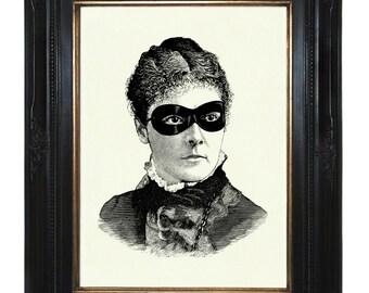 Masked Victorian Art Print Lady Woman Steampunk Portrait - Art Print Halloween Ball Mask Gothic Costume