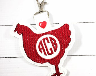 Chicken Hen monogram keyfob - personalized keychain - Monogrammed gifts -best gifts for her - rodeo stock show ffa chicken lady