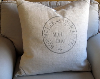 EIFFEL French Country Vintage Stamp 20x20 22x22 24x24 26x26 grain sack style Pillow Cover