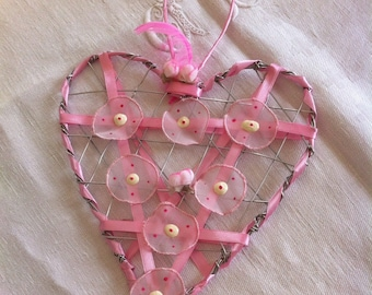 shabby heart wire decorated with Ribbon