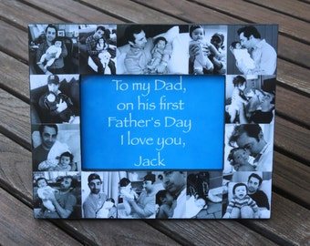 """Baby Photo Collage Frame, Father's Day Picture Frame, Dad Birthday Frame Gift, Personalized Mother's Day Gift, 5"""" x 7"""" Frame"""