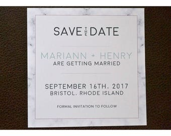 Save the Date with Marble Border - Modern and Sleek Save the Date