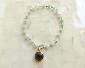 Faceted Blue Chalcedony Rondelle Vermeil Wire Wrapped Chain Bracelet with Round Vermeil Bezel Smoky Quartz Charm Drop (B1205)