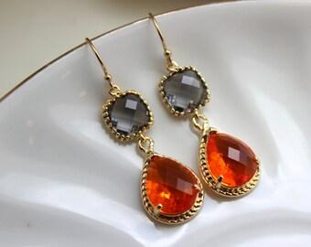 Gold Charcoal Gray Earrings Burnt Orange Amber Earrings Teardrop Glass Two Tier - Bridesmaid Earrings Wedding Earrings Wedding Jewelry