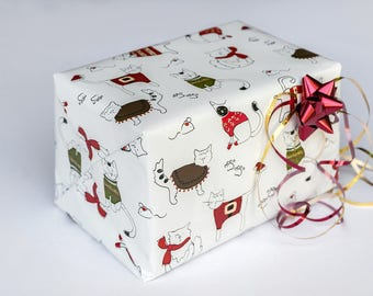 Wrapping Paper | Cat Wrapping Paper| 2 feet x 10 feet| Christmas Gift Wrapping Paper
