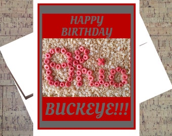 Ohio State Card, Funny Birthday Card, Buckeye Card, OSU Card, Scarlet And Gray, Ohio State Buckeyes, Birthday Card, Happy Birthday Buckeye