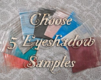 Eyeshadow Samples: Choose Five (5) Colors in Sample Baggies or Clamshells, Vegan Makeup, Mineral Cosmetics, Ships Out in 5-8 Days