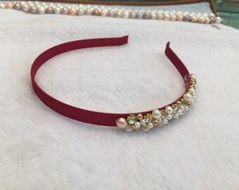 Bridal Headband, bridal Hair Accessories, Rhinestones and Pearl Wedding Headband, bridal headpiece, freshwater pearl headband