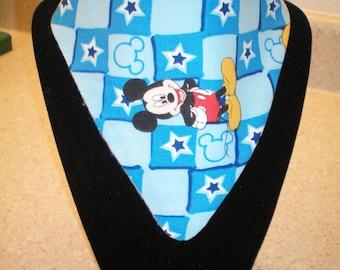 Bandana Drool Bib - Blue Mickey Mouse fabric
