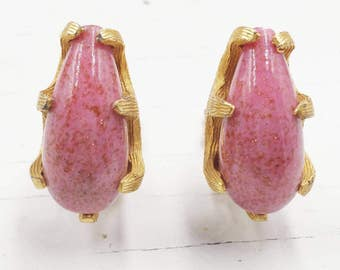 Pink Art Glass Earrings with Gold Fluss Aventurine Sparkles and Claw Setting Signed Bellini Designer Signed Jewelry