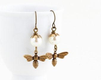 Bee Dangle Earrings - Ivory Pearl Bee Earrings - Bumble Bee Earrings - Nature Jewelry - Gold Dangle Earrings - Bee Jewelry - Gift For Woman