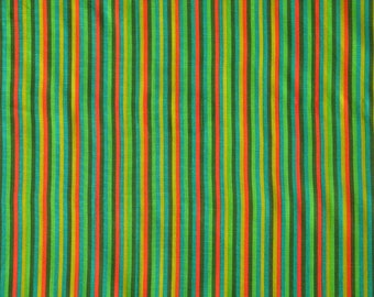 """Vintage Green Striped Quilting Cotton Fabric from 1970s, Unused, 44"""" X 44"""""""
