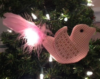 Pink checked stuffed bird
