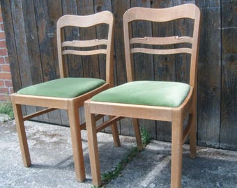 Vintage upholstered Chairs couple 40s-Granny Green