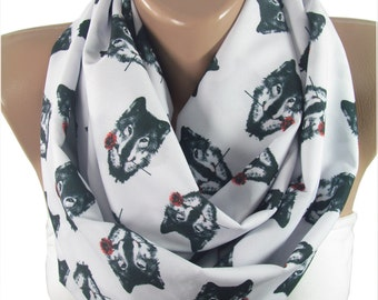Wolf Scarf Infinity Scarf Wolf with Rose Scarf Mothers Day Gift For Mom Gift For Her Gift For Girlfriend Gift For Women Gift For Wife