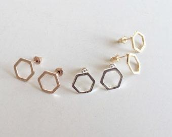 Hexagon earrings rose gold