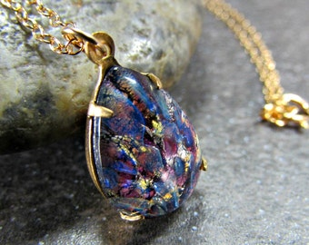 Purple Opal Necklace- Pear Teardrop Pendant- Sterling Silver / 14K Gold Filled- 16/ 18 Inch Chain- Harlequin Fire Opal Jewelry- Gift for Mom