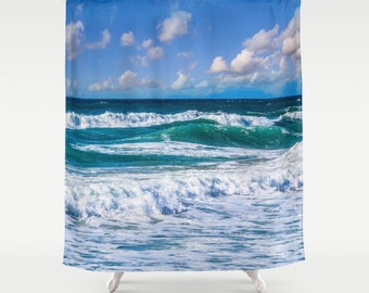 Wave turquoise Shower Curtain Seaview Photo Shower curtain Nature Shower curtain Sea Shower curtain Blue Shower curtain Ocean Shower Curtain
