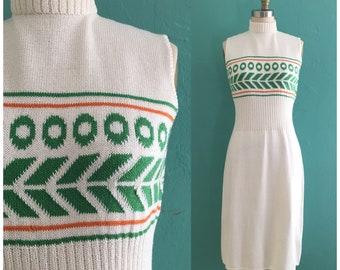 60's St. John Knits dress // winter white ribbed knit mock neck dress ~ small medium