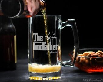 Custom Godfather Beer Glass, Large Godfather Glass Mug, Beer Stein Godfather Gift, Personalized Communion / Baptism Gift for Godparent