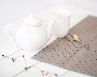Polka dot runner - Linen table runner - Dotted linen runner - Polka dot table top - Linen table top - Housewarming gift - Wedding gift