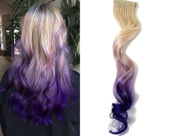 "READY TO SHIP 12"" Tape in Human Hair Extensions 613 Blonde Highlights Remy Purple Ombre Balayage"