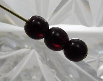 6mm Czech Druk Beads Round Transparent Garnet (20pk) si-6DK-Gar