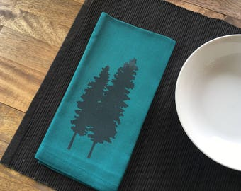 Cloth Napkins - Dinner Napkins with Screen Printed Tree - Set of 4 - Teal