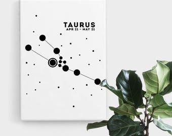 Taurus Constellation Print, Print Art, Black and White Astrology Print, Abstract Art, Zodiac Art, Minimalist Art, Digital Art, Printable Art