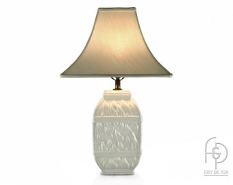 Blanc de Chine White Ceramic Basket Weave Chinoiserie Table Lamp Flared Shade