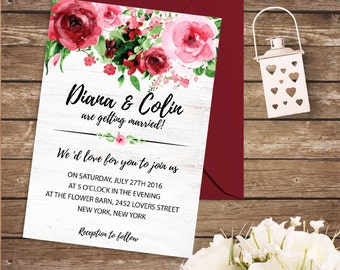 Spring Wedding Invitations Red Roses Wedding Invitation Set Bohemian Floral Wedding Invitation Suite Printable Garden Wedding Invite Digital