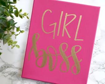 Girl boss- 8x10 canvas, boss gift, girl boss print, office decor women, office wall decor, desk accessories, office art, office sign
