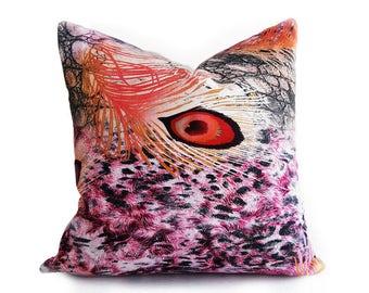 Girls Pillow Covers, Colorful Pillows, Throw Pillows, 18x18, Pink Orange Pillow, Bohemian Pillow, Digital Print Pillows, Boho Pillows
