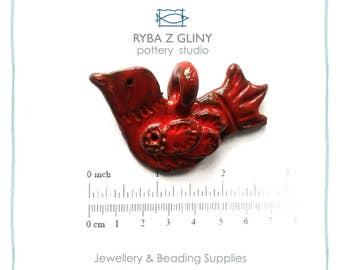 Ceramic Pendant, Bird Pendant, Red Pendant, Jewelry Pendant, Pottery Pendant, Nautical Pendant, Glazes Pendant, Handmade Pendant