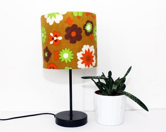 Vintage Retro Lampshade - 1960s Fabric - Small - Handmade - Brown, Orange &  Green Flower Power Design