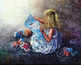 My Little Pony's Art Print of original painting, blond girl, little girls room, blue, wall decor, Vickie Wade Art