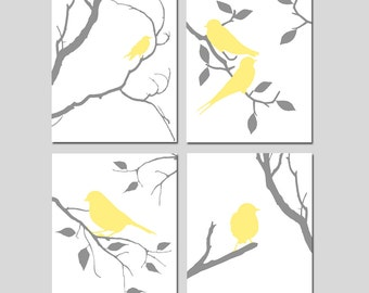 Bird Art Yellow and Grey Bird Wall Art Bird Decor Yellow and Gray Bedroom Art Bird Art Set of 4 Bird Prints - CHOOSE YOUR COLORS